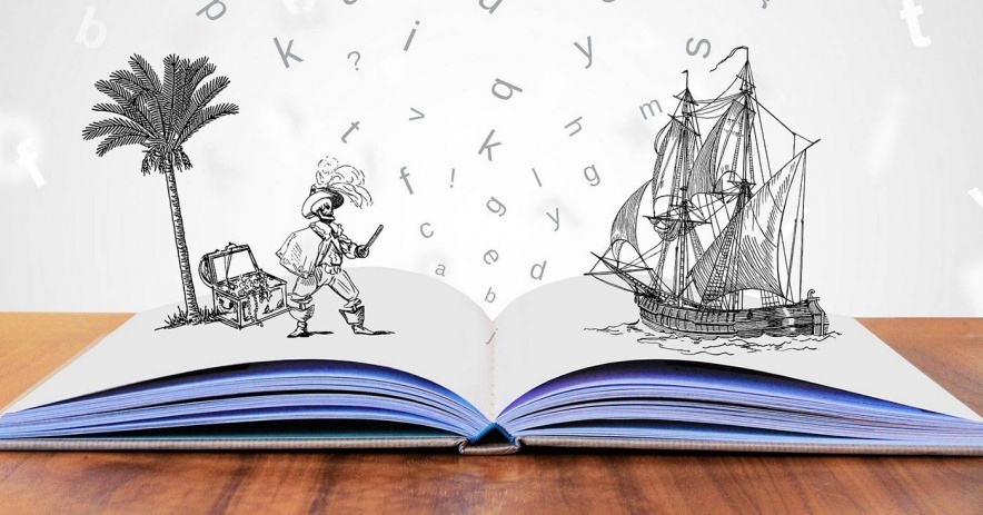 Pirate and ship emerging from pages of an open picture book.