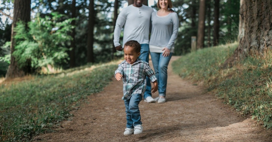 A couple and their child walking in a forested path.