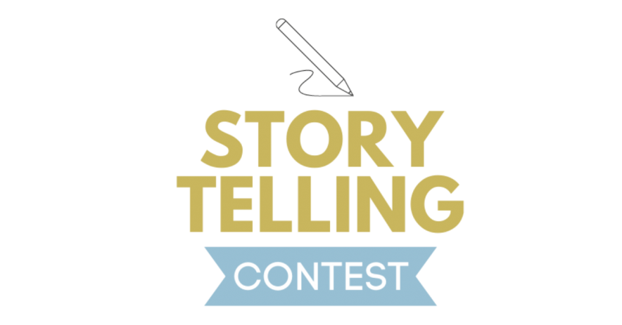 "Logo says ""Story Telling Contest"" in gold and blue letters, with a pen writing or drawing above it"