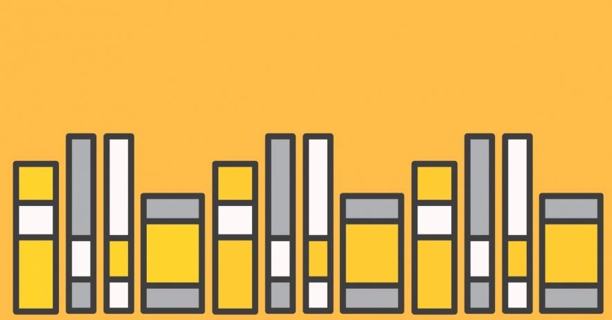 libros sobre un fondo naranja claro