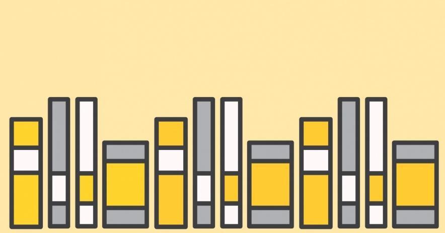 libros sobre un fondo amarillo claro