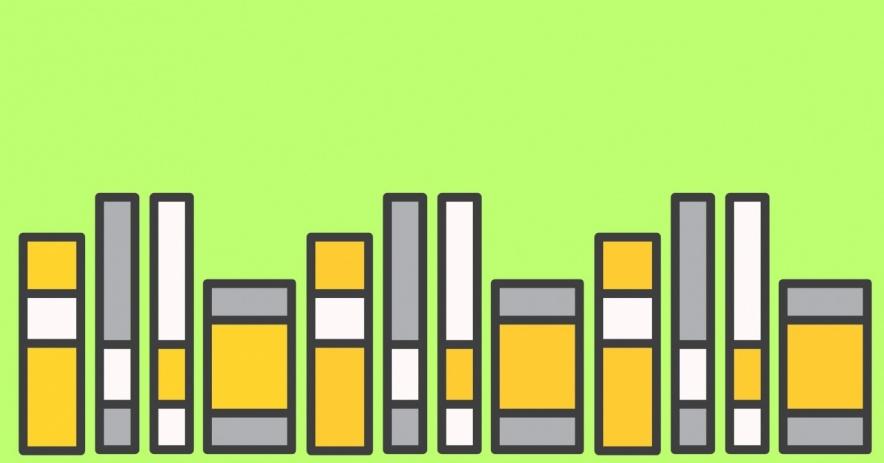 libros sobre un fondo verde lima