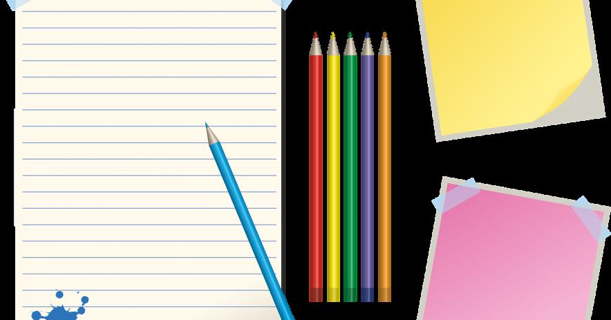 Pegue papel rayado, lápices de colores y notas para publicar para hacer listas.