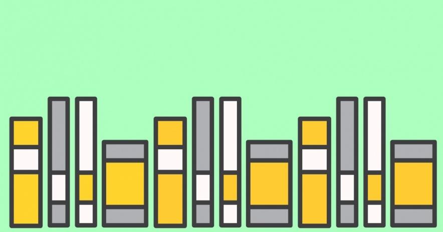 libros sobre un fondo de color verde espuma de mar.