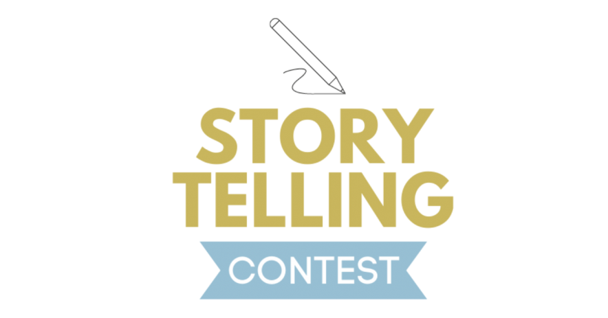 """Story Telling Contest"" in gold and blue font. An icon of a pencil draw above the text."