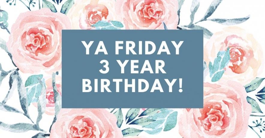 """Texto blanco """"¡YA viernes cumpleaños de 3 años!"""" en peonías rosas acuarelas."""