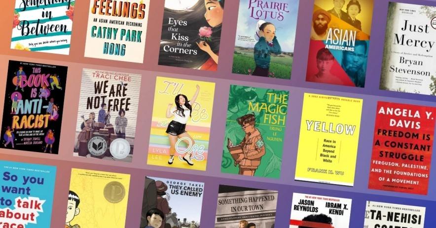 Variedad de portadas de libros sobre asiáticoamericanos e isleños del Pacífico.