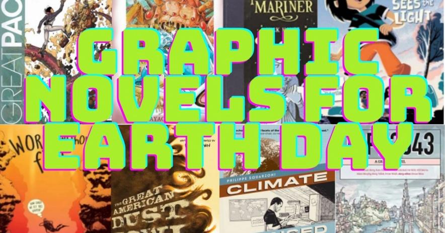 Portada de la galería de cómics con novelas gráficas de palabras para el Día de la Tierra.