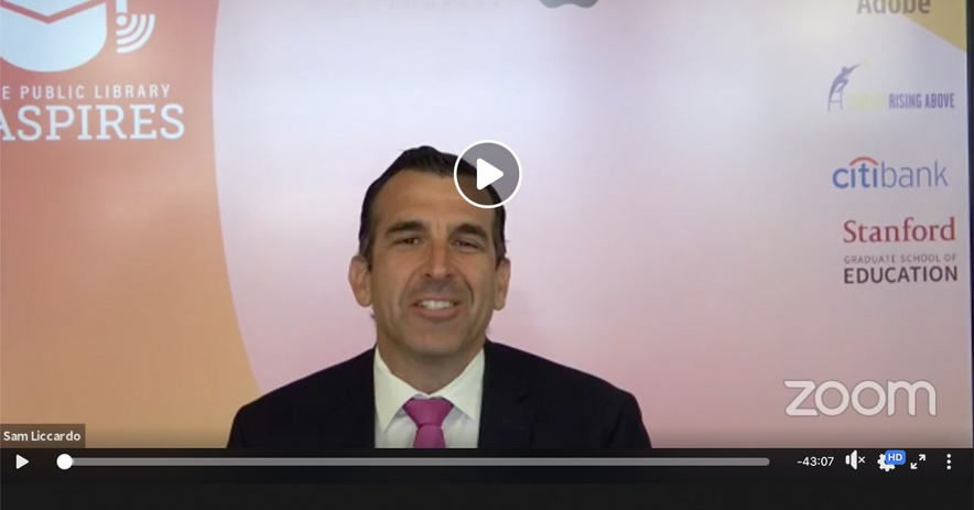 Screenshot of mayor Sam Liccardo on Zoom announcing the SJ Aspires launch.