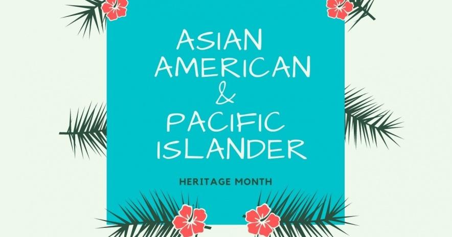 Caja rodeada de hojas de palmera e hibiscos que lee el Mes de la herencia de los asiáticos americanos y las islas del Pacífico