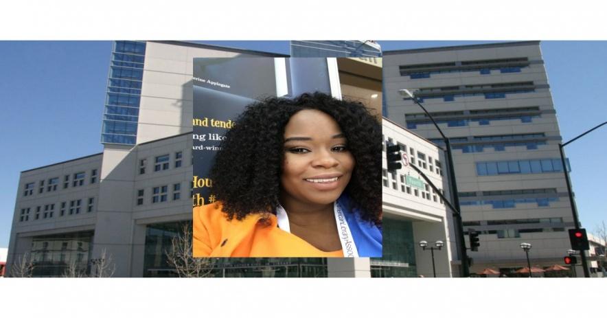 Tiffany Bradford-Oldham frente a la biblioteca Martin Luther King Jr. en San José, California.