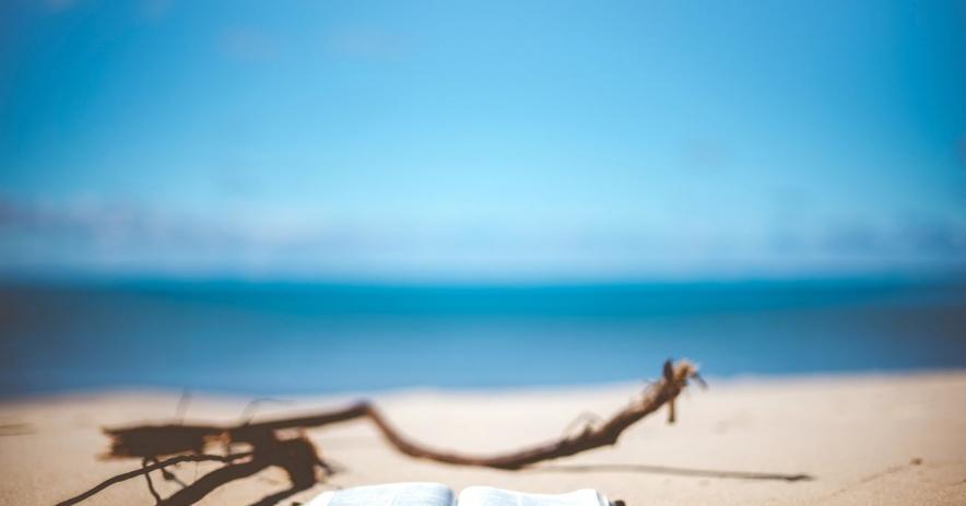 playa con un libro abierto