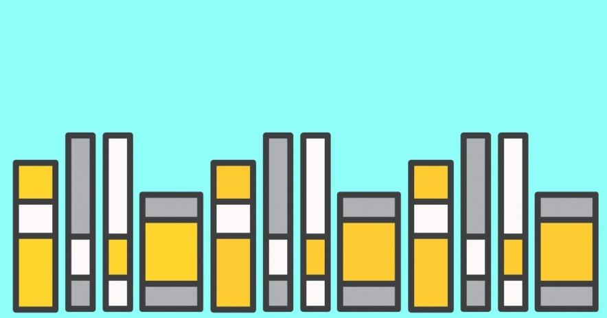 libros sobre un fondo de color azul claro.