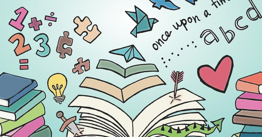 La ilustración de CH Sonder con un libro abierto descansa sobre un escritorio con una cola de dragón, una espada y una flecha saliendo de las páginas, papeles volando desde el medio y transformándose en pájaros, y números, rompecabezas y más maravillas flotando fuera del páginas