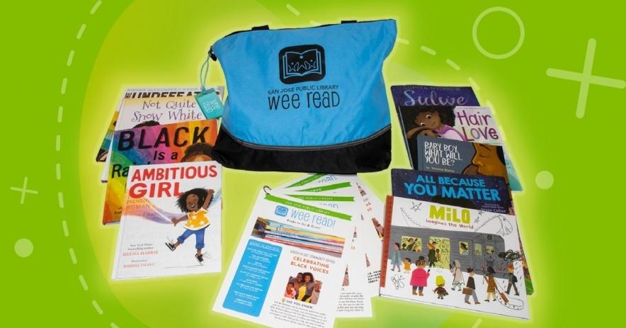 """Una bolsa azul """"Wee Read"""" está rodeada por 9 libros para niños y hojas de actividades."""