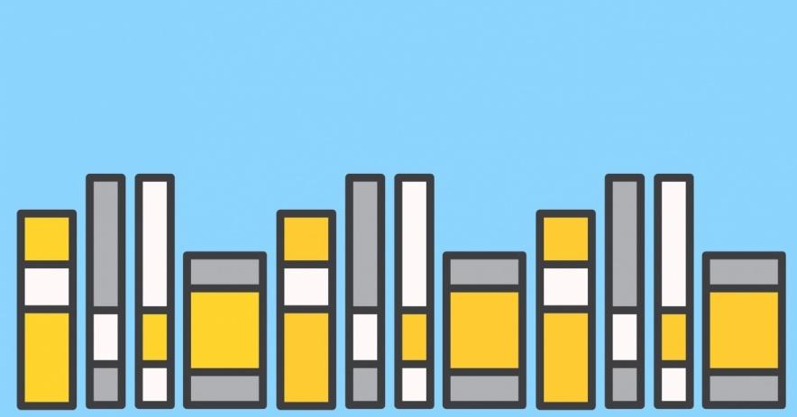 天藍色背景上的書籍。