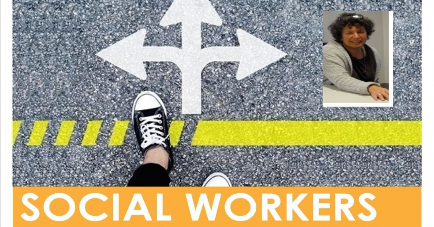 Deborah Estreicher inserta sobre un fondo con un pie saliendo a la calle con flechas blancas apuntando en todas direcciones sobre las palabras, Trabajadores sociales en la biblioteca.