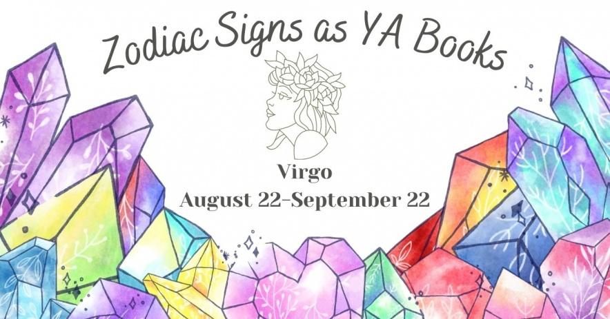 """Fondo blanco con cristales de acuarela en primer plano y texto que dice """"Signos del zodíaco como libros juveniles"""""""