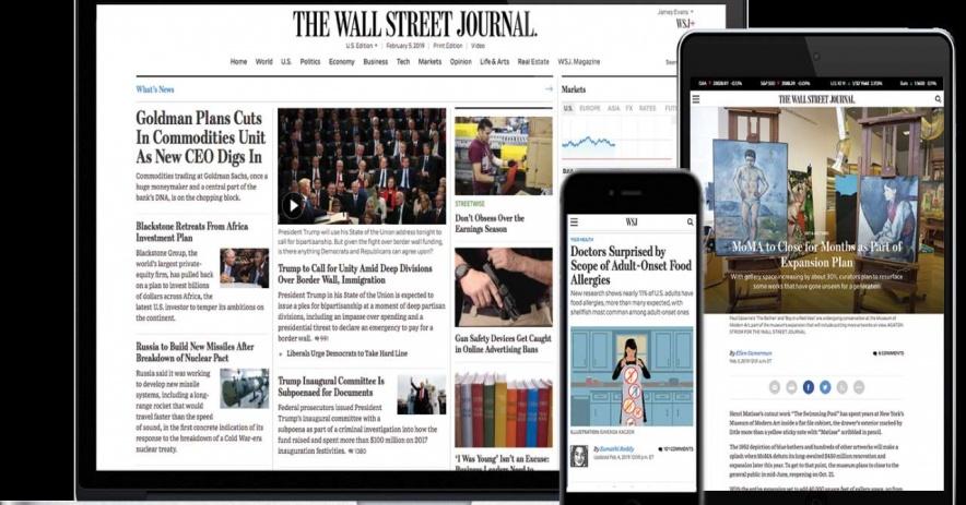 Hình ảnh của Wall Street Journal hiển thị trên máy tính xách tay, máy tính bảng và điện thoại di động
