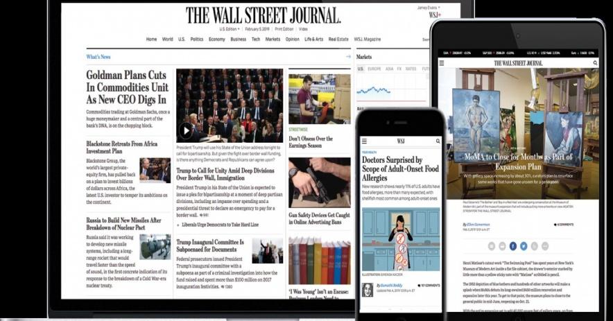 Imagen del Wall Street Journal en una variedad de dispositivos móviles