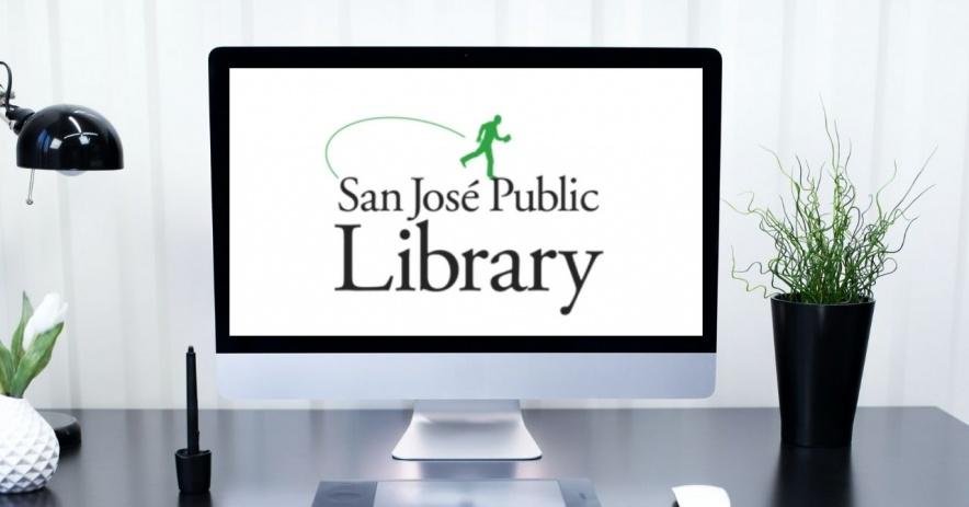 San Jose Public Library 電腦顯示器上的標誌tor