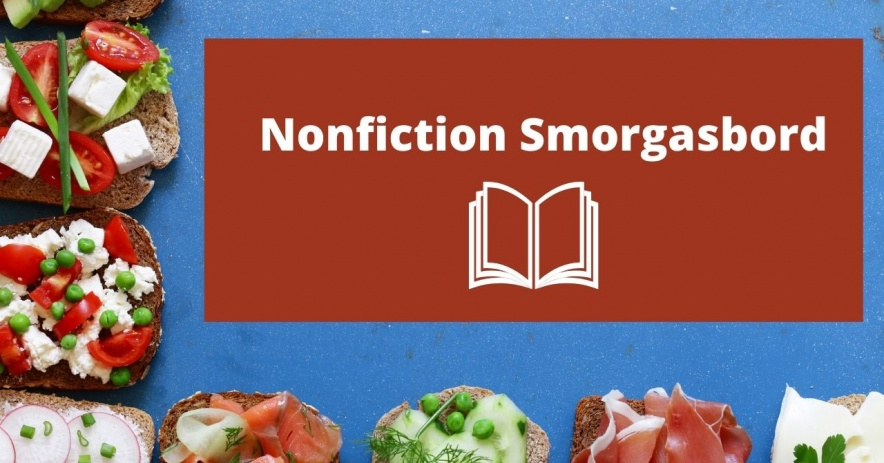 Texto que dice Smorgasbord de no ficción rodeado de sándwiches abiertos con varios aderezos