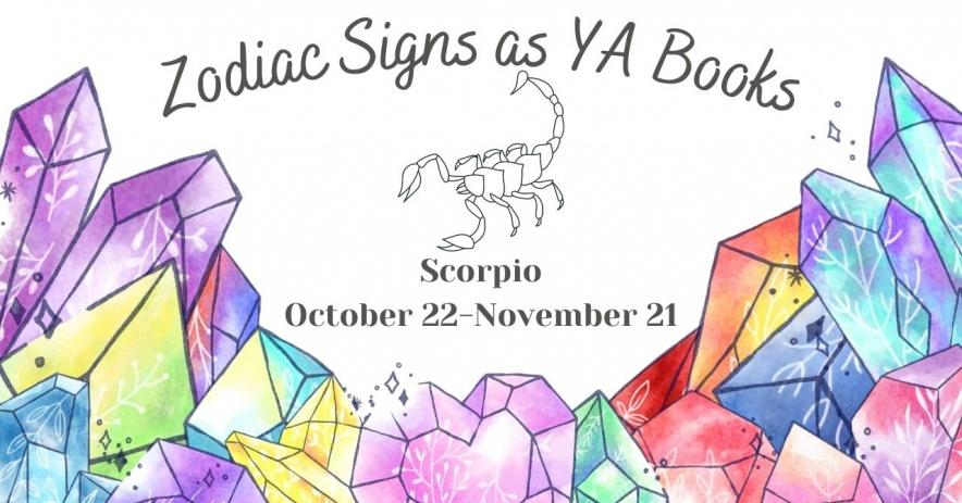 """Nền trắng với các tinh thể màu nước ở nền trước và dòng chữ """"Zodiac Signs as YA Books"""""""