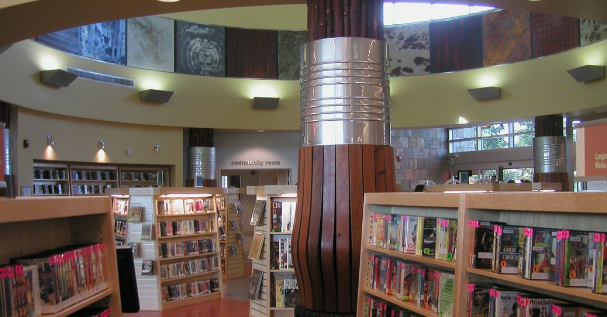 videos and books on shelves at branch library