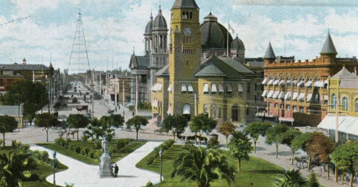 historic postcard image of downtown San Jose