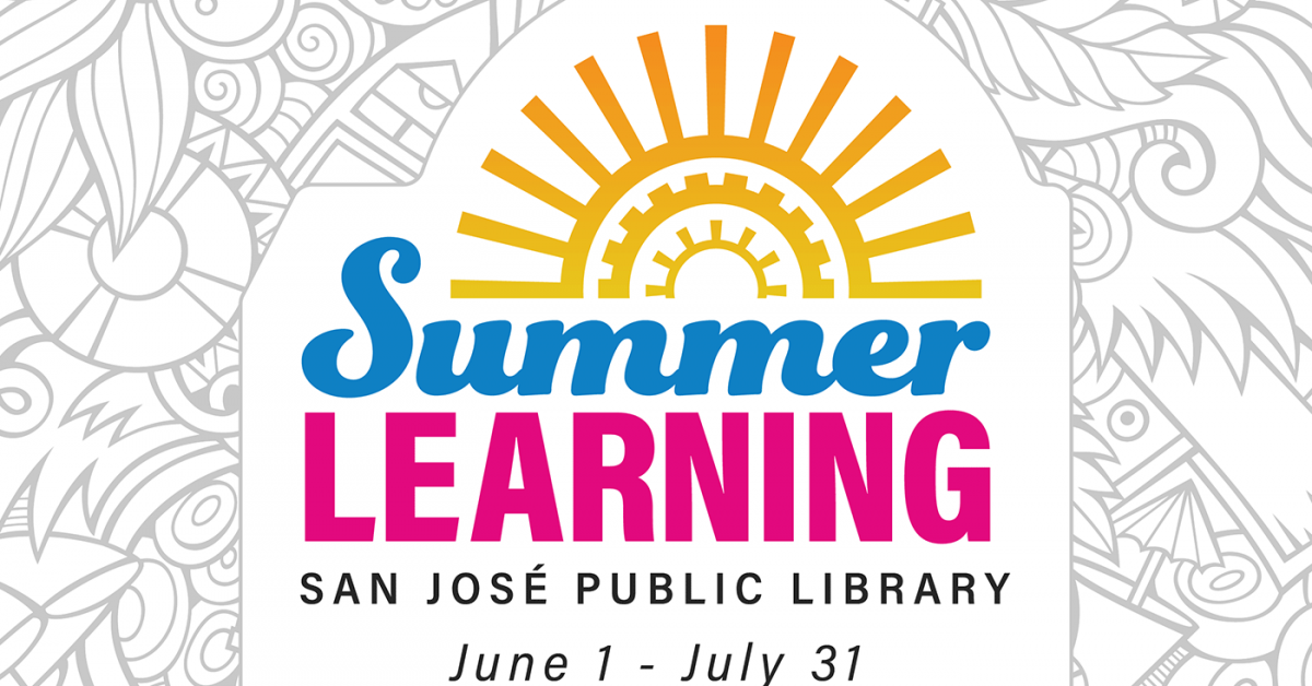 Summer Learning, San Jose Public Library - summer themed line art in background for coloring