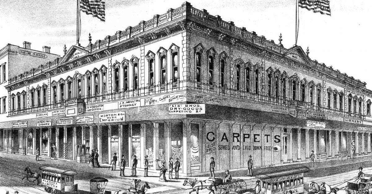 artwork of the Knox Block that housed the first San José library in 1872