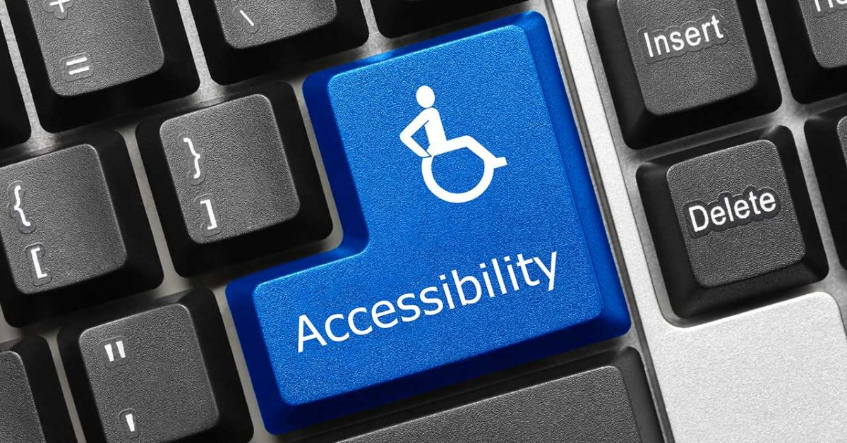 Keyboard with a blue key in place of 'Enter' that reads 'Accessibility' and shows a wheelchair icon.