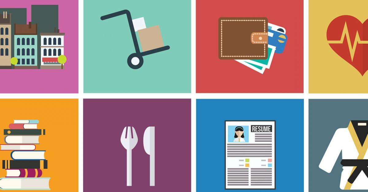 Tám biểu tượng đại diện cho các kỹ năng sống khác nhau: xây dựng căn hộ, xe đẩy di chuyển, ví tiền, trái tim khỏe mạnh, chồng sách, đồ dùng bằng bạc, sơ yếu lý lịch, áo choàng judo.
