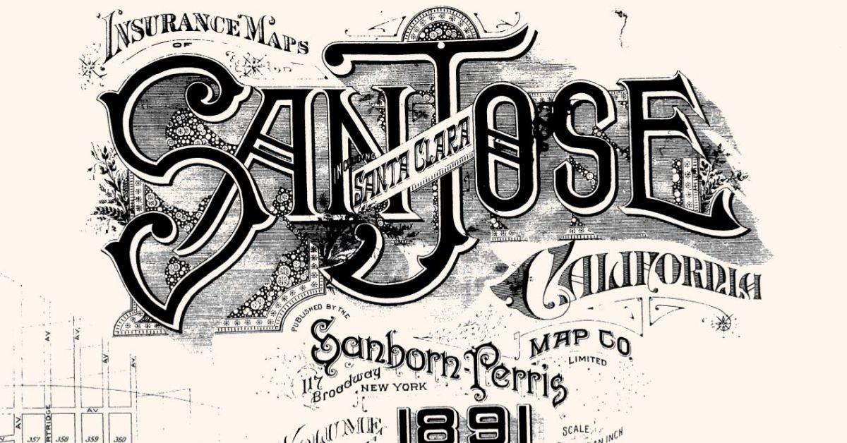 剪下1891年加利福尼亞州聖何塞的Sanborn地圖,這是該地圖中發現的眾多地圖之一 California Room.