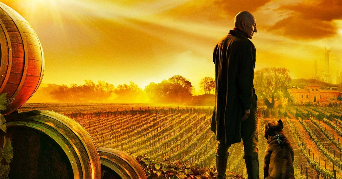 Captain Picard with dog in French grape fields with wine barrels close by