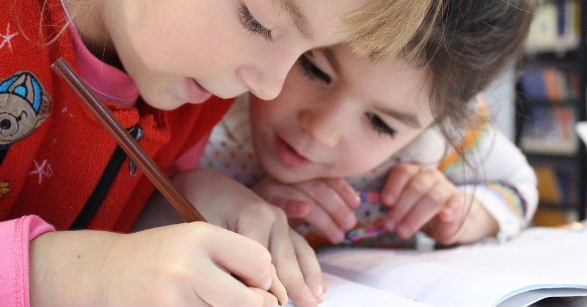 Children studying at home