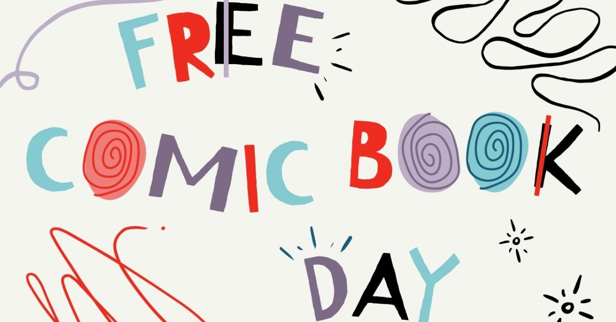 Quirky text: Free Comic Book Day