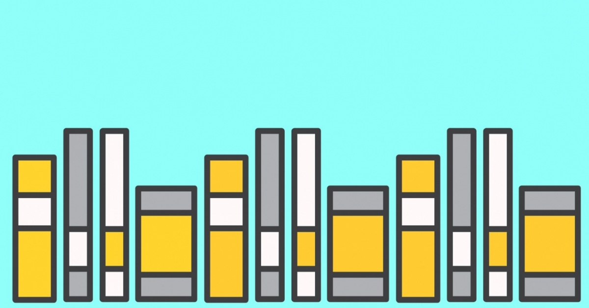books on a light blue background