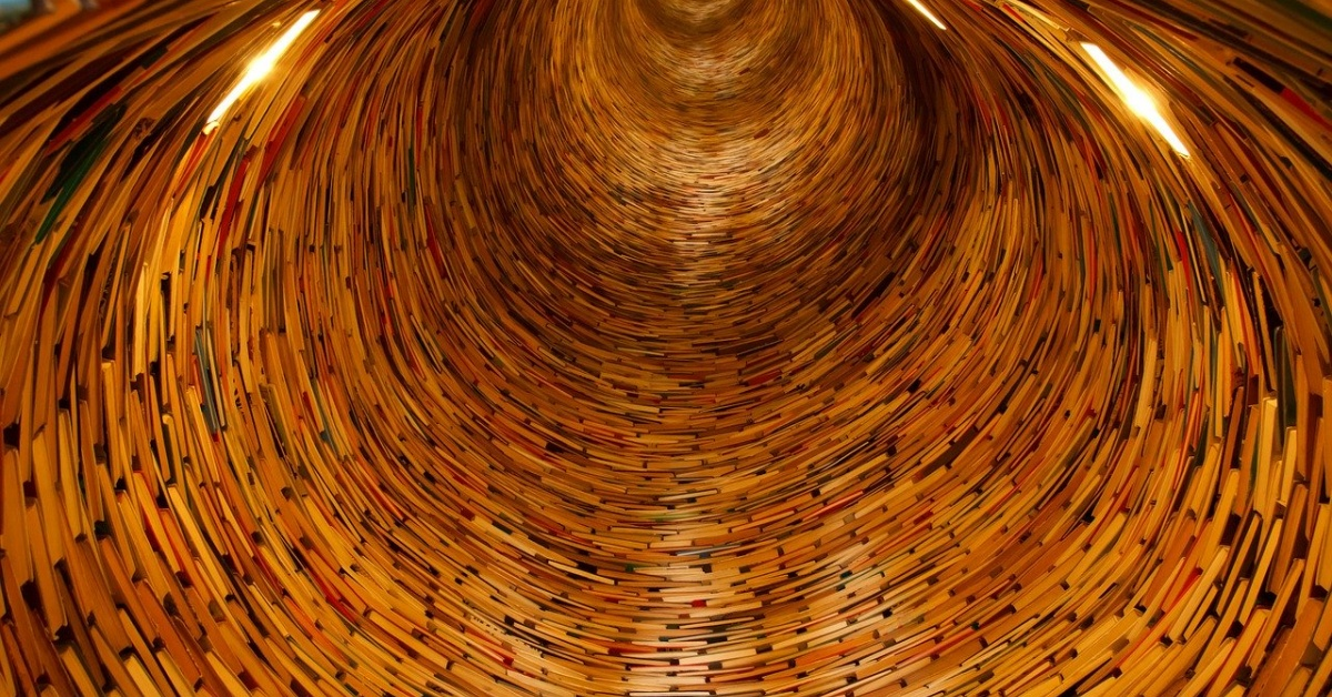 Tunnel shaped out of books that continues on as far as the viewer can see