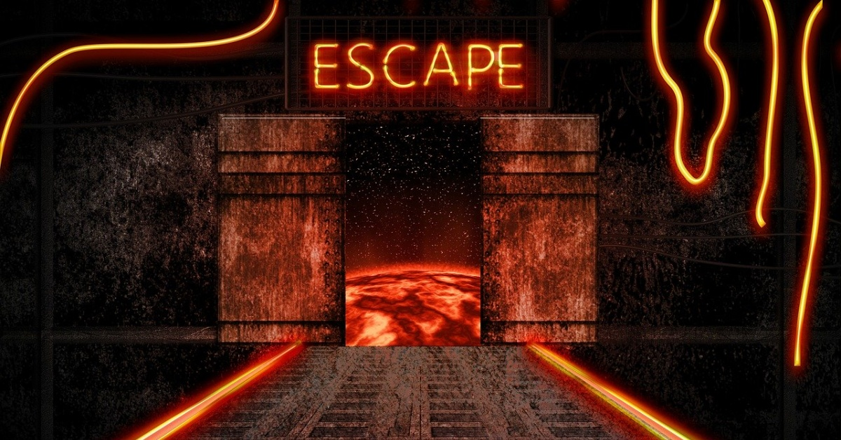 bright orange letters spell the word escape that sit on top of an open door.  Beyond the door is the image of a fire planet