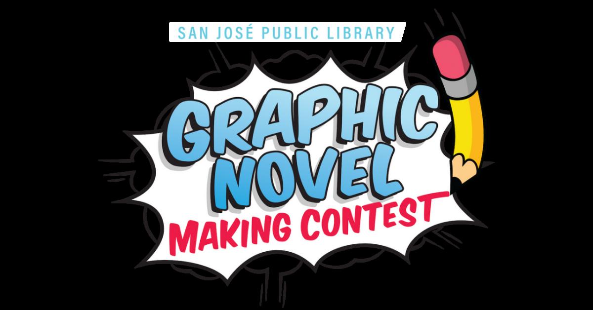 Las palabras Graphic Novel Making Contest están en una burbuja de diálogo con una ilustración de un lápiz a la derecha.