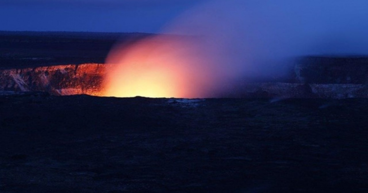 Hawaiian volcano at night.