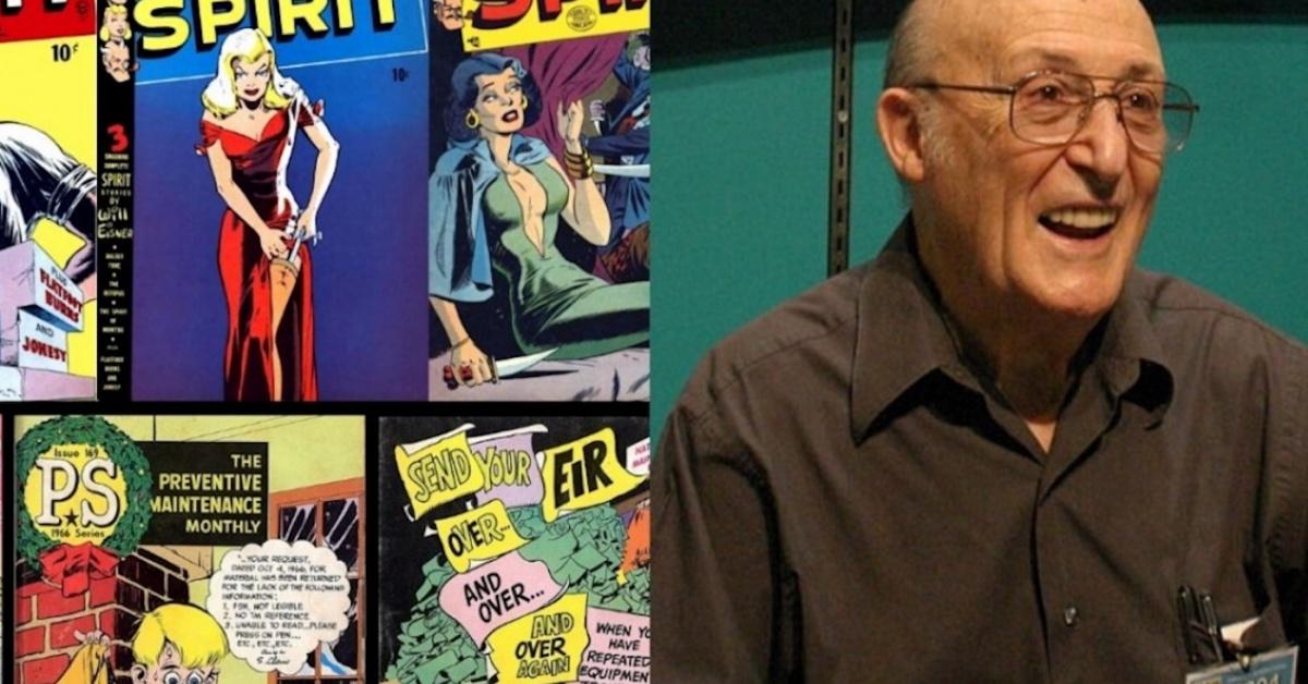 Una foto de Will Eisner con algunas portadas de Spirit Comics.