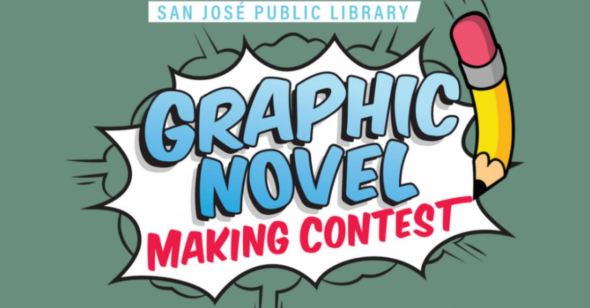San José Public Library Logotipo del concurso de creación de novelas gráficas, texto que sale de una burbuja cómica con un lápiz a un lado.
