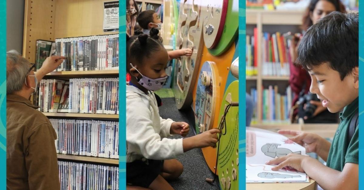 Ba khía cạnh của cuộc sống thư viện: Khách hàng người lớn duyệt DVD, trẻ em tận hưởng không gian vui chơi trong thư viện và trẻ em đọc sách.