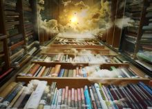 An illustration of the perspective of looking up, while standing in a corridor of tall bookshelves, at the sun and clouds above.